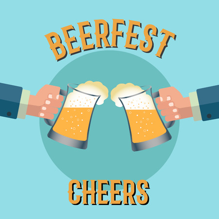Two businessmen toasting glasses of beer on a beerfest vector concept Illustration