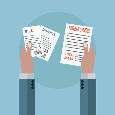 medical bill: Unpaid bills, payment overdue vector illustration