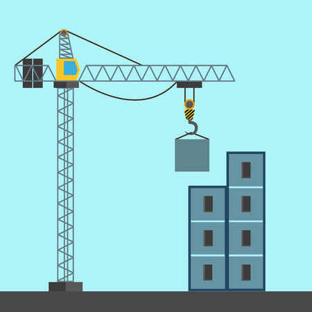 Construction crane building a building vector illustration