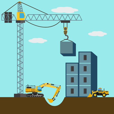 Construction site, machines building a building vector illustration