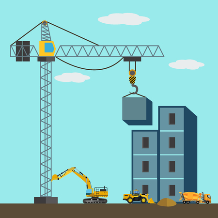 Construction site with construction machines vector illustration