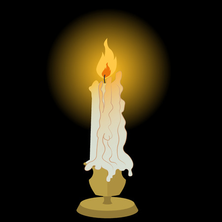 Candle, lit and melting vector illustration