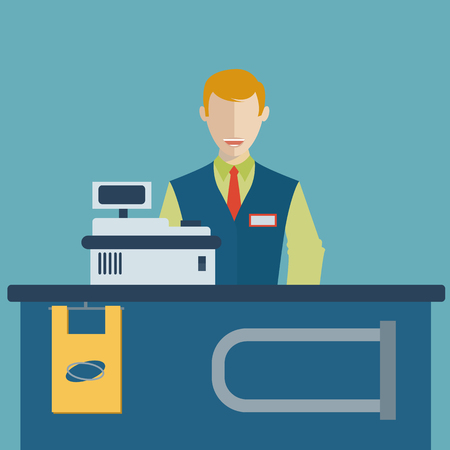 Supermarket store counter desk equipment and cashier clerk in uniform