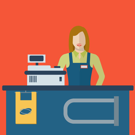 sales clerk: Supermarket store cashier woman or sales clerk at store. Female cashier illustration