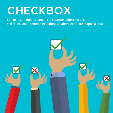 affirmative: Hands holding check boxes with right and wrong answers concept