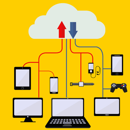 syncing: Syncing digital data to cloud from digital devices concept