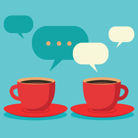 two friends talking: Friendly chat over coffe, two cups of coffee concept Illustration