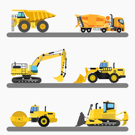 earth mover: Set of industrial heavy machinery construction machine