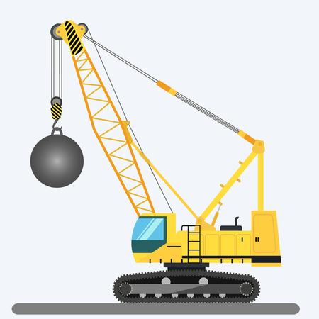 heavy: Wrecking ball crane heavy machinery illustration