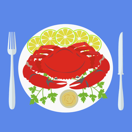green crab: illustration of a crab on plate with garnish