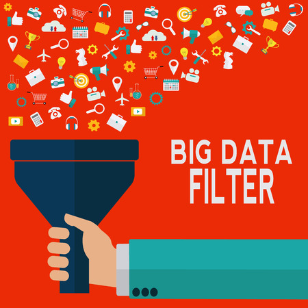 Hand holding funnel, big data filter, data tunnel, analysis concept
