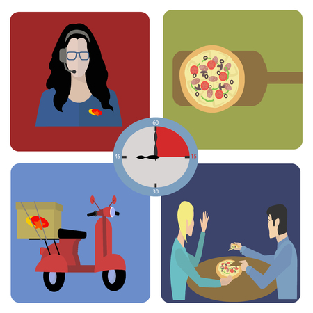 minutes: Fast food delivery in fifteen minutes vector concept  pizza Illustration