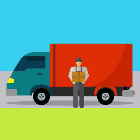 Delivery service to your house with employee holding a box vector illustration Illustration