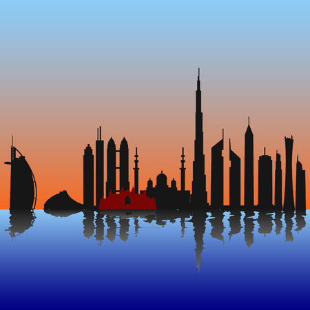 reflection in water: Dubai skyline at sunset sunrise with reflection in the water Illustration