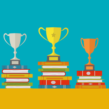 Corelation between studying and success with gold, silver and bronze trophies on books vector concept