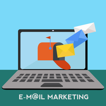 Email marketing with mailbox on laptop receiving mail vector concept