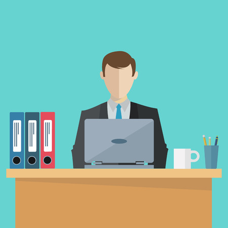 Business executive at his workplace vector illustration