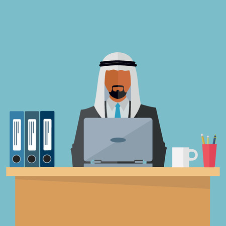 Arab, middle eastern businessman at his workplace vector illustration