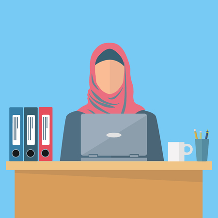 middle eastern woman: Arab, middle eastern woman employee at the workplace vector illustration