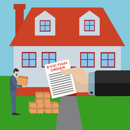 man being evicted from his home by big bank business holding eviction order vector concept