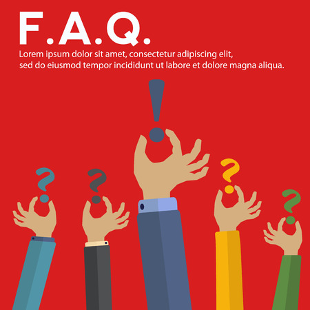 questionably: Hands holding question marks and one has the answer Illustration