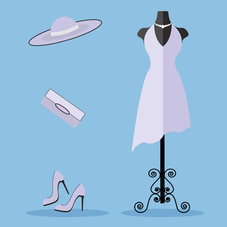 dummy: Tailors dummy with a dress and fashion accessories vector illustration