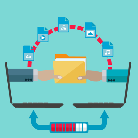 exchanging: File sharing and transfer vector concept