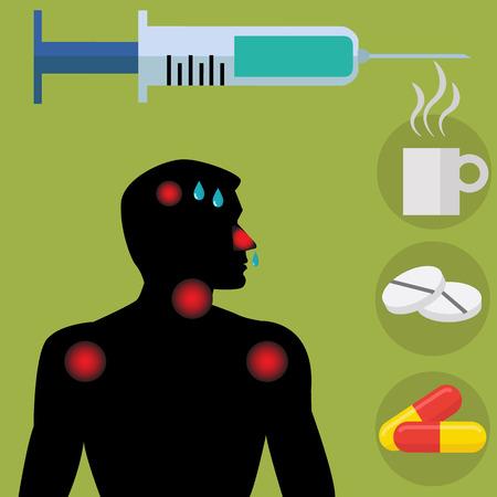 flu shot: Flu shot  vaccine with sick man showing symptoms concept