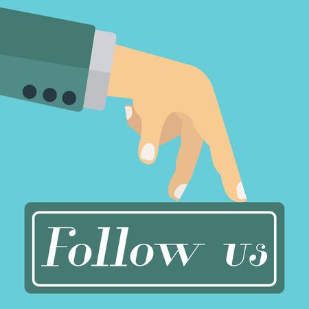 pursue: Follow us concept for social networks Illustration