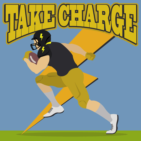 Football player taking charge illustration