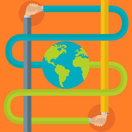 joined hands: Friendship  partnership around the world Illustration