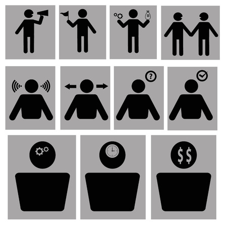 stickmen: Business stickmen icons set Illustration