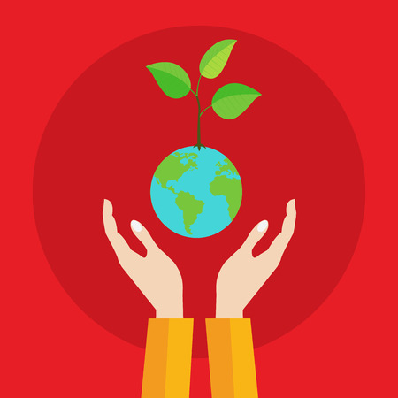 hands holding plant: Hands holding fragile plant growing on planet earth ecology vector concept
