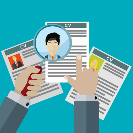 finding: Human resources finding the right employee for hire vector illustration
