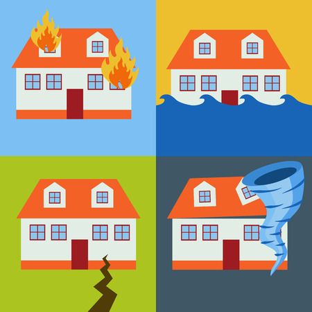 natural disasters: Home insurance from natural disasters vector concept Illustration