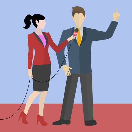 Vector illustration of a young modern female journalist making an interview with a man Illustration