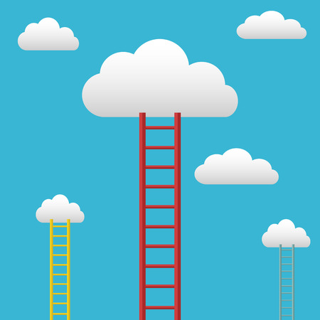 Ladders leading to the clouds, succes and goals vector background Illustration