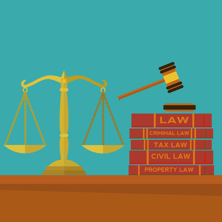 Law and justice with gavel, scales and law books vector concept Illustration