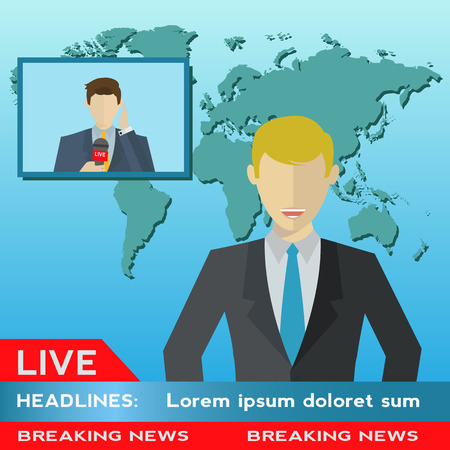 newsreader: News anchor broadcasting the news with a reporter live on screen vector illustration Illustration