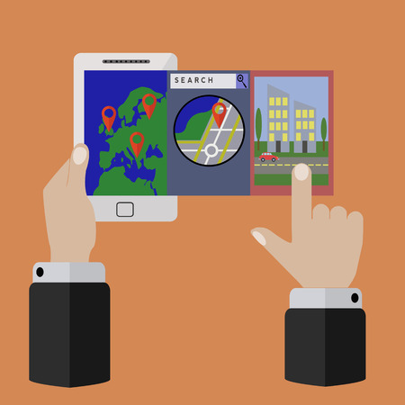 Mobile application for location and geo tagging vector concept