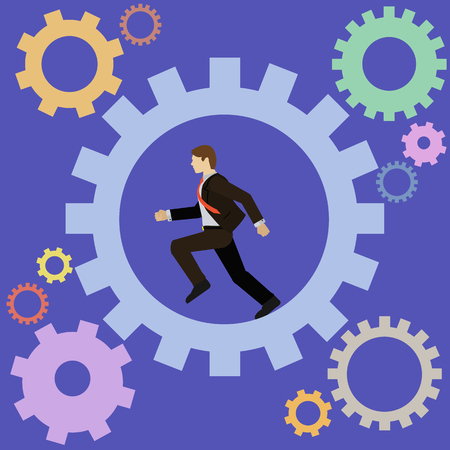 turning: Businessman running turning the cogs of the company mechanism vector concept