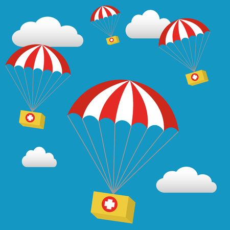 disaster relief: Medical Relief Supplies Air Drop With Parachutes Vector Illustration