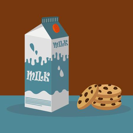 envase de leche: cartón de leche y chocolate galletas con trocitos de ilustración vectorial
