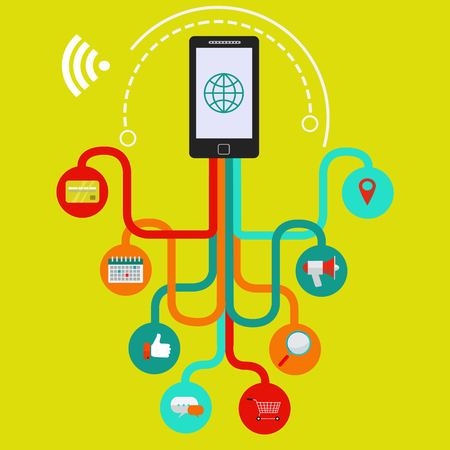 Mobile phone applications and connectivity vector concept