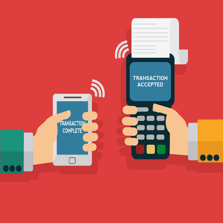 micro print: Wireless mobile payment via smartphone vector illustration Illustration