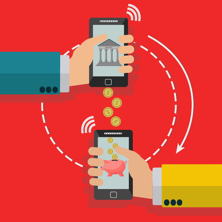 wirelessly: Wireless transfer of money through mobile phone vector concept Illustration