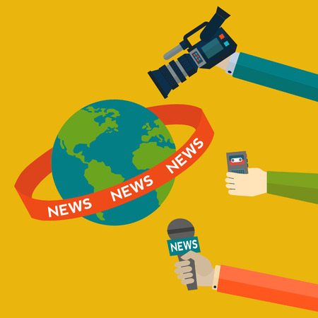 Global news coverage journalism vector concept