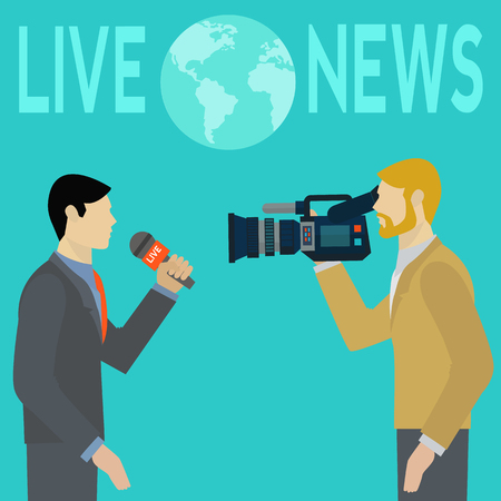 Live report news with cameraman vector illustration
