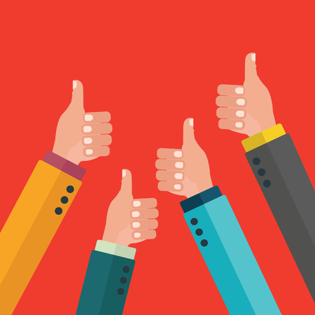 Businessmen holding thumbs up in approval vector concept Illustration