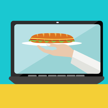 ordering: On line food ordering with sandwich vector concept Illustration